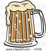 Vector Clip Art of Retro Frothy Mug of Beer in a Bar Clipart Illustration by Andy Nortnik