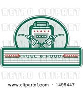 Vector Clip Art of Retro Fuel and Food Design with Crossed Gas Nozzles and Pump by Patrimonio