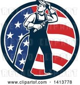 Vector Clip Art of Retro Full Length Male Welder Looking Back over His Shoulder in an American Flag Circle by Patrimonio