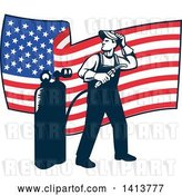 Vector Clip Art of Retro Full Length Male Welder Looking Back over His Shoulder in Front of a Wavy American Flag by Patrimonio