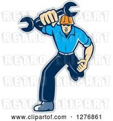 Vector Clip Art of Retro Full Length Mechanic Guy Running and Holding a Giant Spanner Wrench, with a Gray Outline by Patrimonio