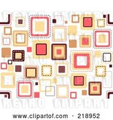 Vector Clip Art of Retro Funky Background of Scattered Squares on White by BNP Design Studio
