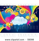 Vector Clip Art of Retro Funky, Colorful Cloud, Circle, Heart and Rainbow Grunge Background by MilsiArt