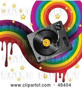 Vector Clip Art of Retro Funky Music Background with a Dripping Rainbow, Stars and a Turntable on White by Elaineitalia