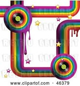 Vector Clip Art of Retro Funky Music Rainbow Background with Drips, Stars and Vinyl Records on White by Elaineitalia