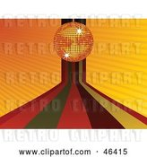 Vector Clip Art of Retro Funky Orange Disco Ball and Rainbow Background by Elaineitalia