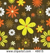 Vector Clip Art of Retro Funky Orange, Yellow and Brown Floral Background by KJ Pargeter