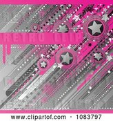 Vector Clip Art of Retro Funky Pink and Gray Star Grunge Background by Elena