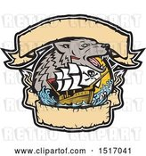 Vector Clip Art of Retro Galleon Pirate Ship with a Sea Wolf and Banners by Patrimonio