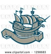 Vector Clip Art of Retro Galleon Ship with a Blank Banner Scroll by Patrimonio
