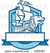 Vector Clip Art of Retro Galleon Ship with a Wolf Head Bow in a Crest by Patrimonio