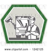 Vector Clip Art of Retro Garbage Guy and Truck in a Shield by Patrimonio