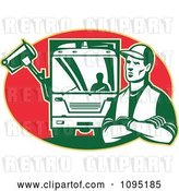 Vector Clip Art of Retro Garbage Guy and Truck over a Red Oval by Patrimonio