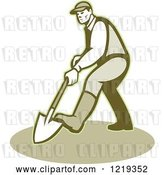 Vector Clip Art of Retro Gardener Digging with a Shovel by Patrimonio