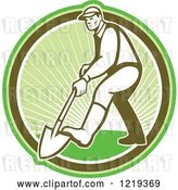 Vector Clip Art of Retro Gardener Digging with a Shovel in a Circle of Sunshine by Patrimonio