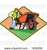 Vector Clip Art of Retro Gardener Guy Pushing a Wheelbarrow in a Sunset Diamond by Patrimonio