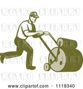 Vector Clip Art of Retro Gardener or Landscaper Worker Using a Lawn Roller by Patrimonio
