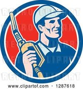 Vector Clip Art of Retro Gas Station Attendant Jockey Holding a Nozzle in a Blue White and Red Circle by Patrimonio