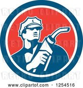 Vector Clip Art of Retro Gas Station Attendant Jockey Holding a Nozzle in a Red White and Blue Circle by Patrimonio