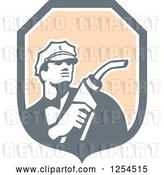 Vector Clip Art of Retro Gas Station Attendant Jockey Holding a Nozzle in a Shield by Patrimonio