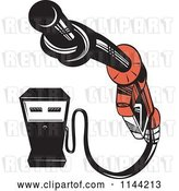 Vector Clip Art of Retro Gas Station Pump and Knotted Nozzle by Patrimonio