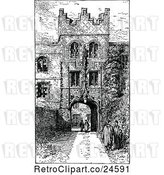 Vector Clip Art of Retro Gateway Entrance to Jesus College in Cambridge Uk by Prawny Vintage