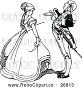 Vector Clip Art of Retro Gentleman and Lady Talking by Prawny Vintage