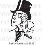 Vector Clip Art of Retro Gentleman Holding a Monocle to His Eye by BestVector