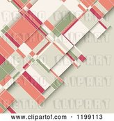 Vector Clip Art of Retro Geometric Background in Pink Green White and Beige Tones by KJ Pargeter