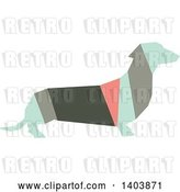 August 14th, 2018: Vector Clip Art of Retro Geometric Colorful Profiled Dachshund Dog by Cherie Reve