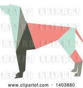 Vector Clip Art of Retro Geometric Colorful Profiled Hound Dog by Cherie Reve