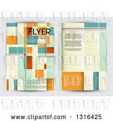 Vector Clip Art of Retro Geometric Flyer Design with Sample Text, on Gray by KJ Pargeter