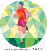 Vector Clip Art of Retro Geometric Low Poly Male Marathon Runner in a Green and Yellow Circle by Patrimonio
