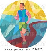 Vector Clip Art of Retro Geometric Low Poly Male Marathon Runner on a Path in a Circle by Patrimonio
