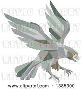 Vector Clip Art of Retro Geometric Low Poly Peregrine Falcon Swooping for Prey by Patrimonio