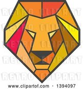 Vector Clip Art of Retro Geometric Low Polygon Male Lion Head by Patrimonio