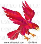 Vector Clip Art of Retro Geometric Red Low Poly Peregrine Falcon Swooping for Prey by Patrimonio