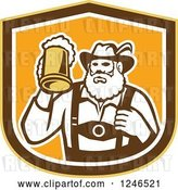 Vector Clip Art of Retro German Guy Holding up a Mug of Beer in a Shield by Patrimonio