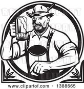 Vector Clip Art of Retro German Guy Wearing Lederhosen and Raising a Beer Mug for a Toast by Patrimonio