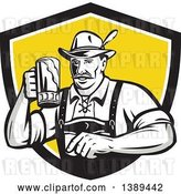 Vector Clip Art of Retro German Guy Wearing Lederhosen and Raising a Beer Mug for a Toast, Emerging from a Black White and Yellow Shield by Patrimonio