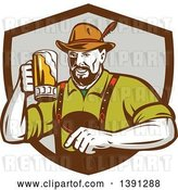 Vector Clip Art of Retro German Guy Wearing Lederhosen and Raising a Beer Mug for a Toast, Emerging from a Brown and Gray Shield by Patrimonio