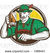 Vector Clip Art of Retro German Guy Wearing Lederhosen and Raising a Beer Mug for a Toast, Emerging from a White Brown and Yellow Circle by Patrimonio