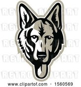 Vector Clip Art of Retro German Shepherd Alsatian Dog Mascot by Patrimonio