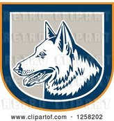Vector Clip Art of Retro German Shepherd Dog in an Orange Blue White and Tan Shield by Patrimonio