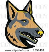 Vector Clip Art of Retro German Shepherd Dog Mascot Head by Patrimonio