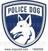 Vector Clip Art of Retro German Shepherd Police Dog in a Shield by Patrimonio