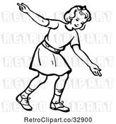 Vector Clip Art of Retro Girl After Releasing a Bowling Ball in by Picsburg