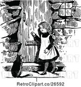 Vector Clip Art of Retro Girl and Cat at a Door by Prawny Vintage