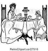 Vector Clip Art of Retro Girl and Cat Having Tea by Prawny Vintage