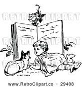Vector Clip Art of Retro Girl and Cat Reading a Giant Book by Prawny Vintage